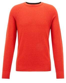 BOSS Hugo Crew-neck sweater in lightweight merino wool pique M Open Red