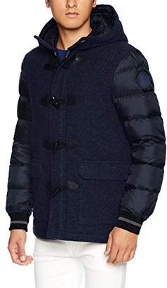 Armani Exchange A|X Men's Wool Front Coat with Quilted Sleeves and Toggle Closure