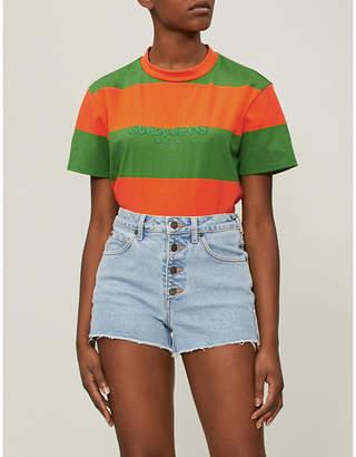GUESS USA Farmers Market logo-print striped cotton-jersey T-shirt