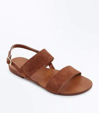 New Look Wide Fit Tan Suede Double Strap Sandals
