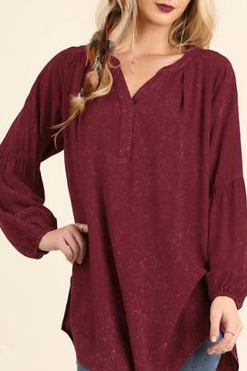 Umgee USA Distressed Burgundy Top $33.99 thestylecure.com