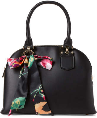 Imoshion Black Scarf-Accented Dome Vegan Satchel