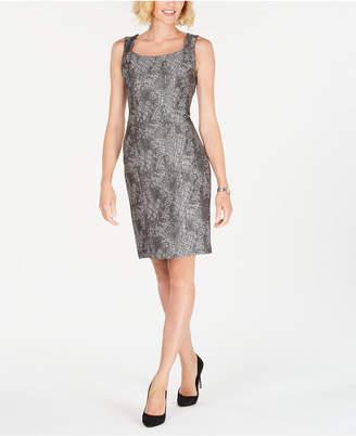 Kasper Metallic Jacquard Sheath Dress