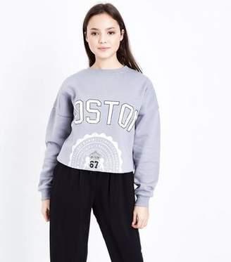 New Look Teens Pale Blue Boston Print Raw Hem Sweatshirt