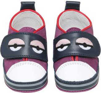 Fendi Embroidered Leather Strap Sneakers