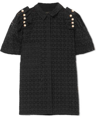 Mother of Pearl Tia Faux Pearl-embellished Broderie Anglaise Cotton Shirt - Black