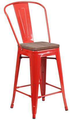 "Flash Furniture 24"" High Red Metal Counter Height Stool with Back and Wood Seat"