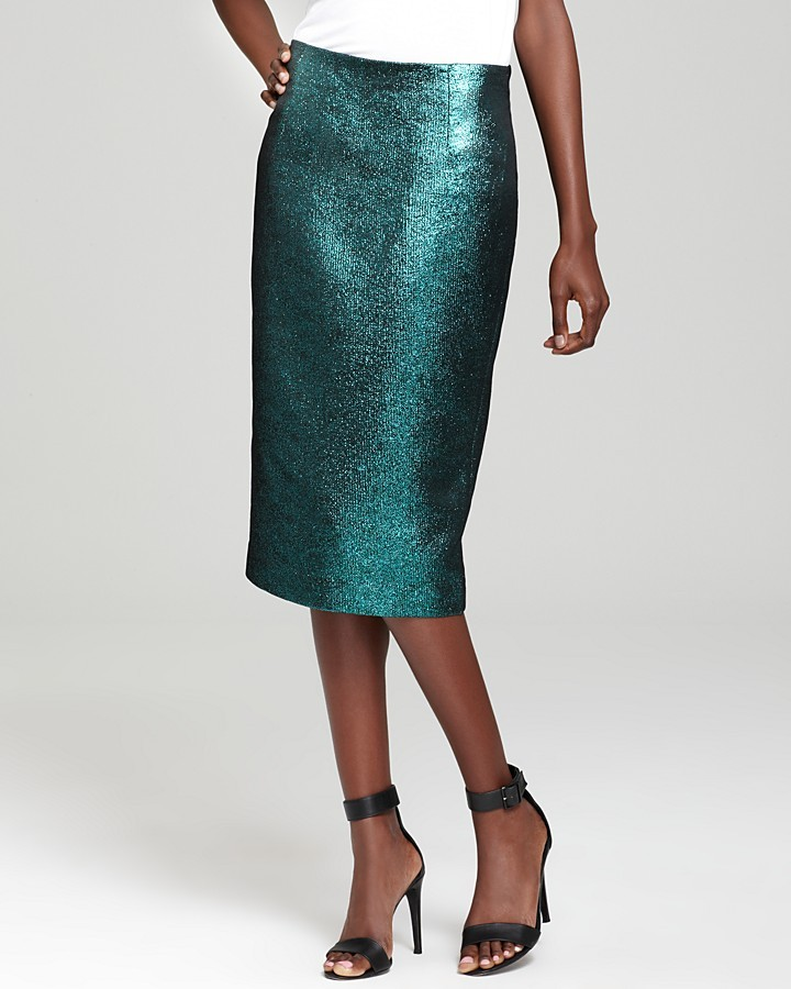 Tibi Pencil Skirt - Lurex Jacquard