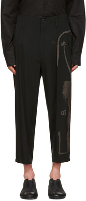 Yohji Yamamoto Black Wide-Leg Graphic Trousers $1,440 thestylecure.com