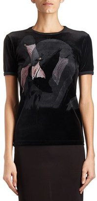Givenchy Flamingo-Print Velvet Tee, Black $830 thestylecure.com