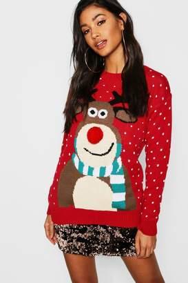 boohoo Pom Pom Reindeer Christmas Jumper