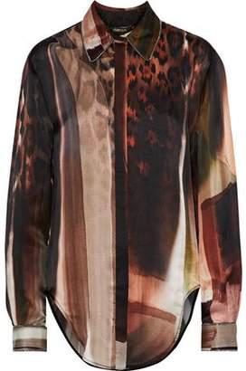 Roberto Cavalli Printed Chain-Trimmed Silk Blouse