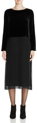 Eileen Fisher Velvet Top Silk Midi Dress $378 thestylecure.com