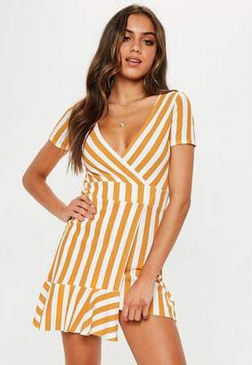 Missguided Mustard Striped Asymmetric Mini Dress