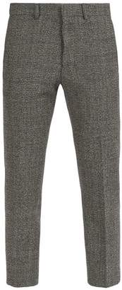 Ami Cropped Wool Blend Trousers - Mens - Grey