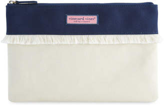 Vineyard Vines Canvas Fringe Zip Top Clutch