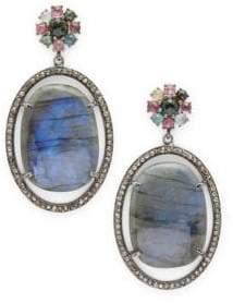 Tourmaline, Labradorite & Sterling Silver Drop Earrings