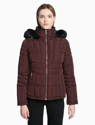 Calvin Klein quilted faux fur hooded zip jacket