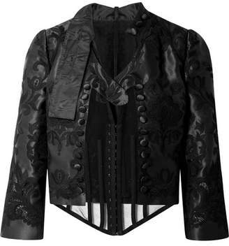Dolce & Gabbana Cropped Layered Stretch-tulle And Embroidered Silk-blend Taffeta Jacket - Black
