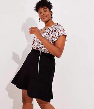 LOFT Plus Ponte Flippy Skirt