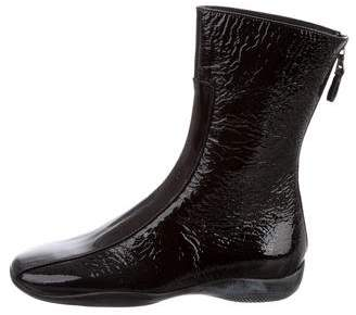 Prada Sport Patent Leather Square-Toe Ankle Boots w/ Tags