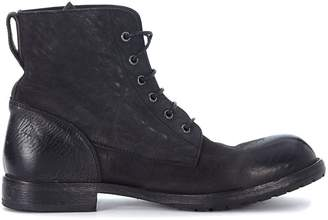 Moma Black Vintage Leather Ankle Boots