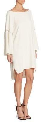 Halston Flounce Sleeve Hi-Lo Dress