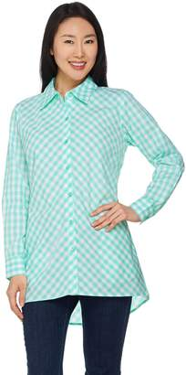 Joan Rivers Classics Collection Joan Rivers Gingham Boyfriend Shirt with Hi-Low Hem