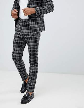 Asos DESIGN skinny suit pants in black and white grid check