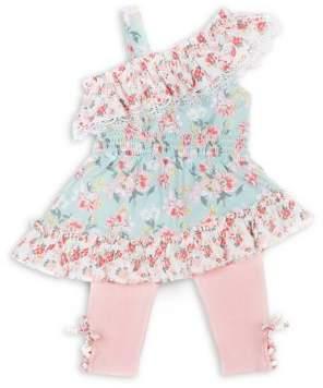 Little Lass Little Girl's 2-Piece Lace-Up Smocked Top & Capri Pants Set