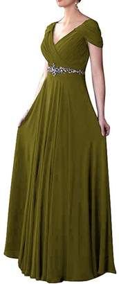 VaniaDress Women V Neck Crystal Beading Long Prom Dress Evening Gowns V260LF US