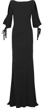 Badgley Mischka Open-Back Sequin-Trimmed Stretch-Knit Gown