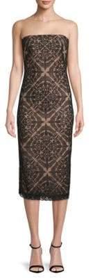 Tadashi Shoji Strapless Lace Midi Dress