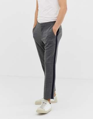 Burton Menswear skinny fit jersey suit trousers with side stripe in grey
