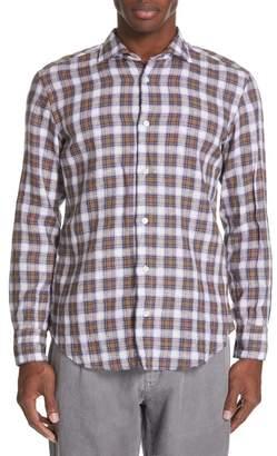 Eleventy Slim Fit Plaid Linen Sport Shirt