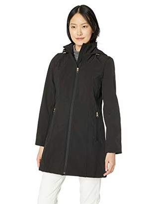 Anne Klein Women's Diamond Rain Softshell Coat with Hood