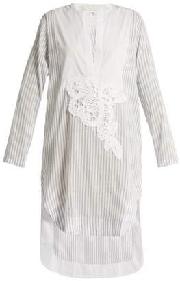 Lila Eugenie - 1813 V Slit Striped Cotton Blend Shirt - Womens - Blue Stripe