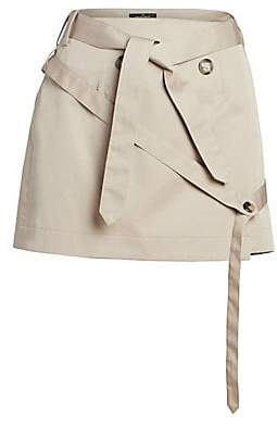 Rokh Women's Belted Cotton Mini Skirt