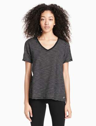 Calvin Klein striped v-neck short sleeve t-shirt