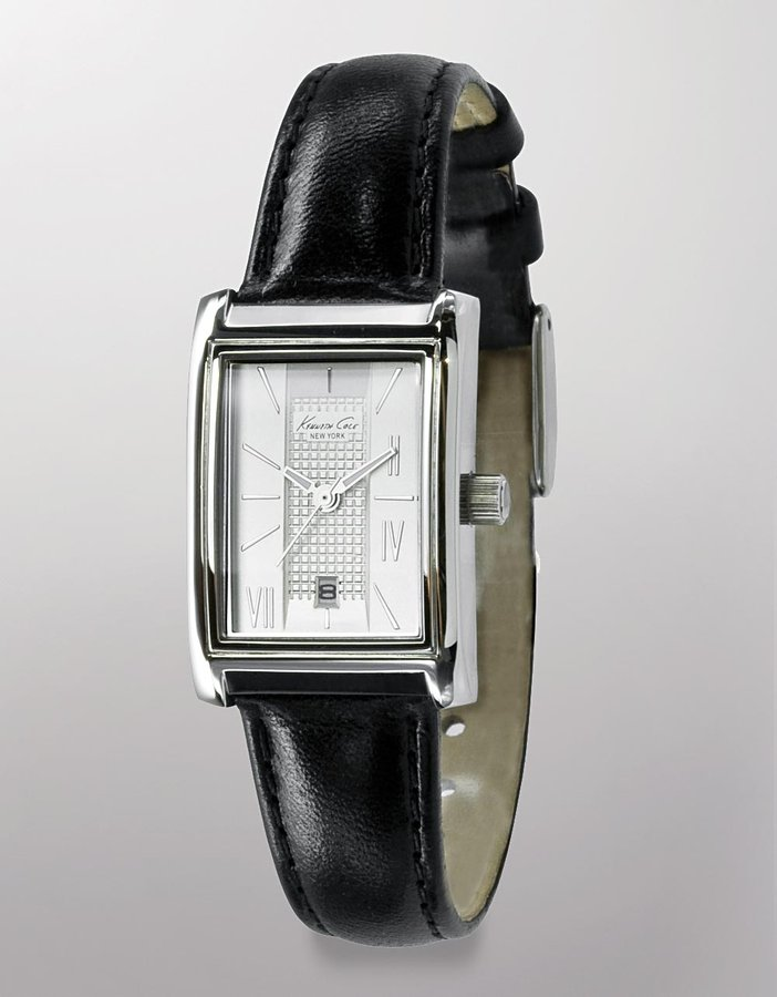 Kenneth Cole new york Rectangle-Dial Black Leather Watch