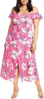Leith Floral Print Ruffle Flounce Dress