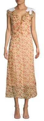 Miu Miu Floral Cotton Collar Midi Dress