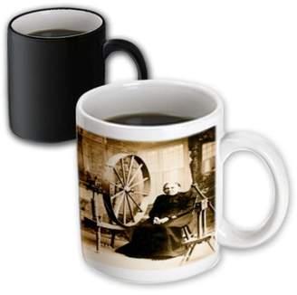 3dRose Louis Peshas Granny and Spinning Wheel Sepia, Magic Transforming Mug, 11oz