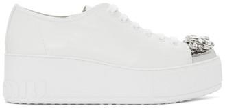 Miu Miu White Platform Crystal Sneakers