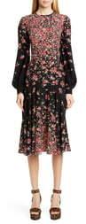 Michael Kors Degrade Floral Long Sleeve Crepe de Chine Dress