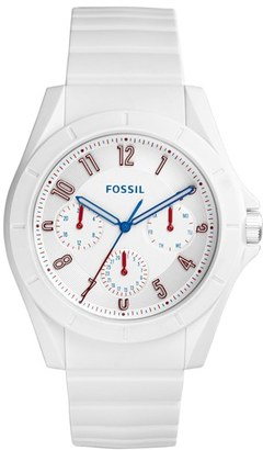 Fossil 'Poptastic' Silicone Strap Watch, 44mm $95 thestylecure.com