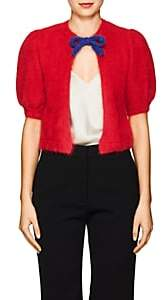 Valentino WOMEN'S TIE-FRONT BRUSHED WOOL-BLEND CARDIGAN-RED SIZE M