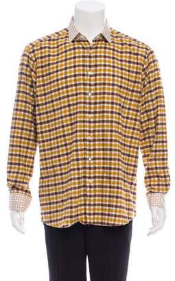 Etro Flannel Gingham Shirt w/ Tags brown Flannel Gingham Shirt w/ Tags