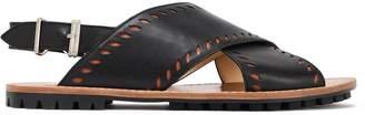 Jil Sander Navy Laser-cut Leather Slingback Sandals