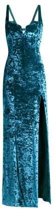 Galvan - Solstice Hammered Velvet Corset Gown - Womens - Blue